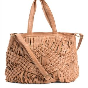Day and Mood Anthropologie Berry Leather Tote